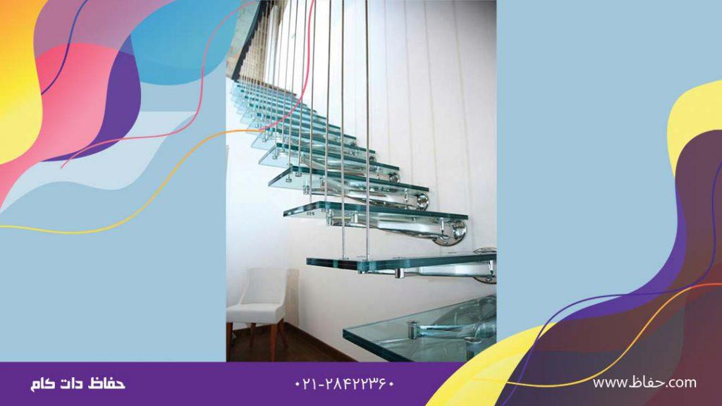 نرده راه پله شیشه و استیل